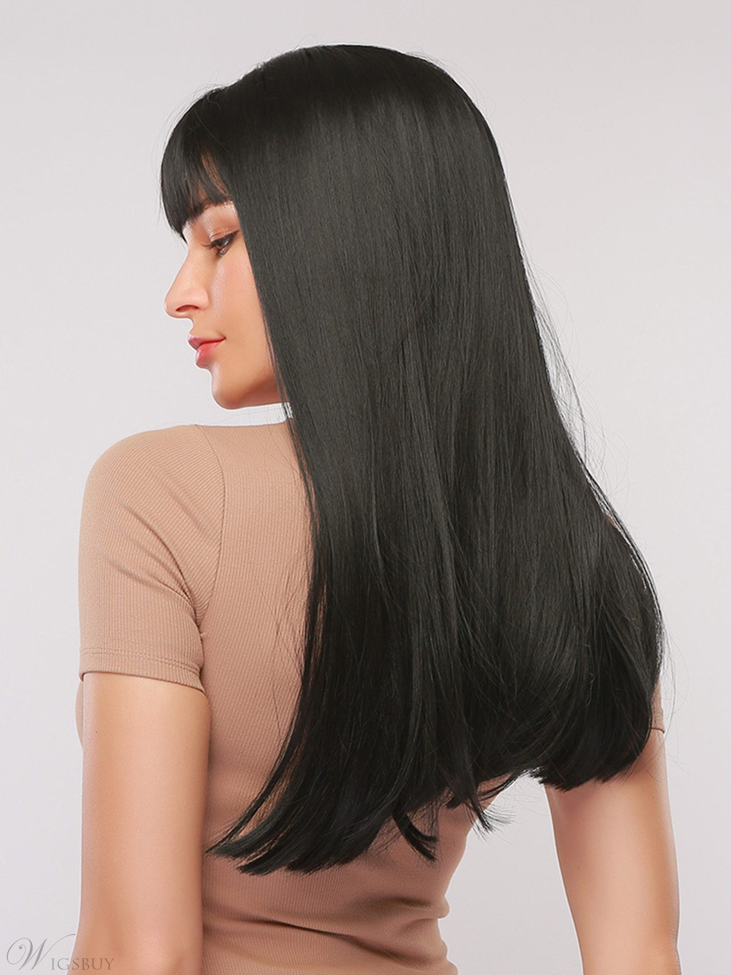 Long Synthetic Natural Straight Hair With Bangs Capless Wig 28 Inches
