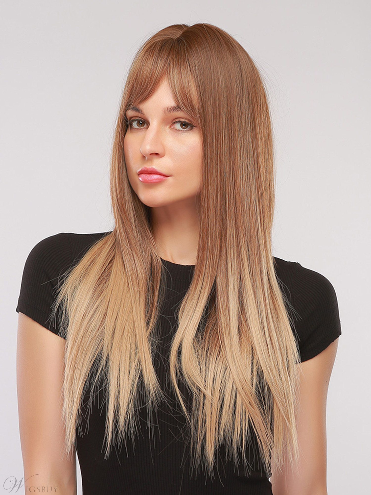 Gradient Color Long Straight Synthetic Hair Women Caplesee Wig 28 Inches