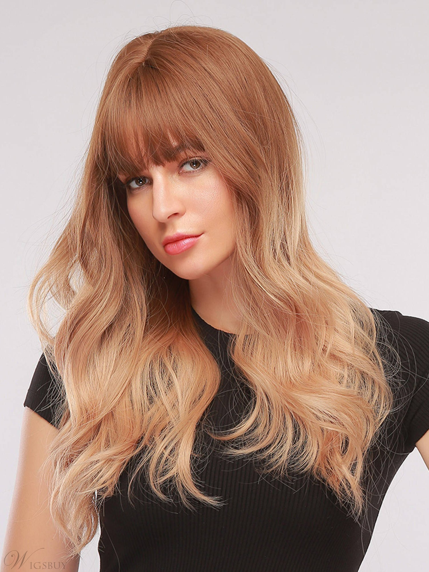 Light Blonde Synthetic Hair Wavy Wigs With Bangs 24 Inches