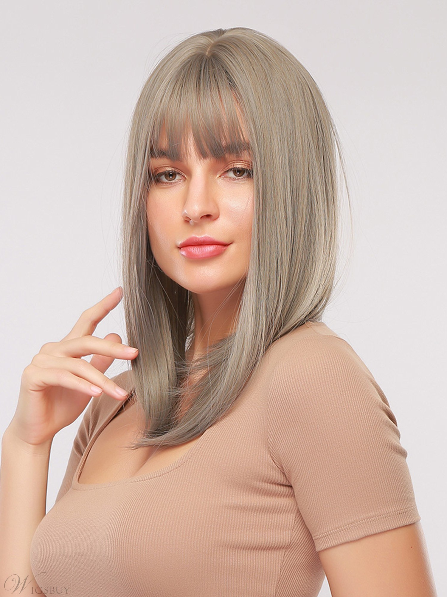 Long Bob Natrual Straight Synthetic Hair Women Wig With Bangs 18 Inches