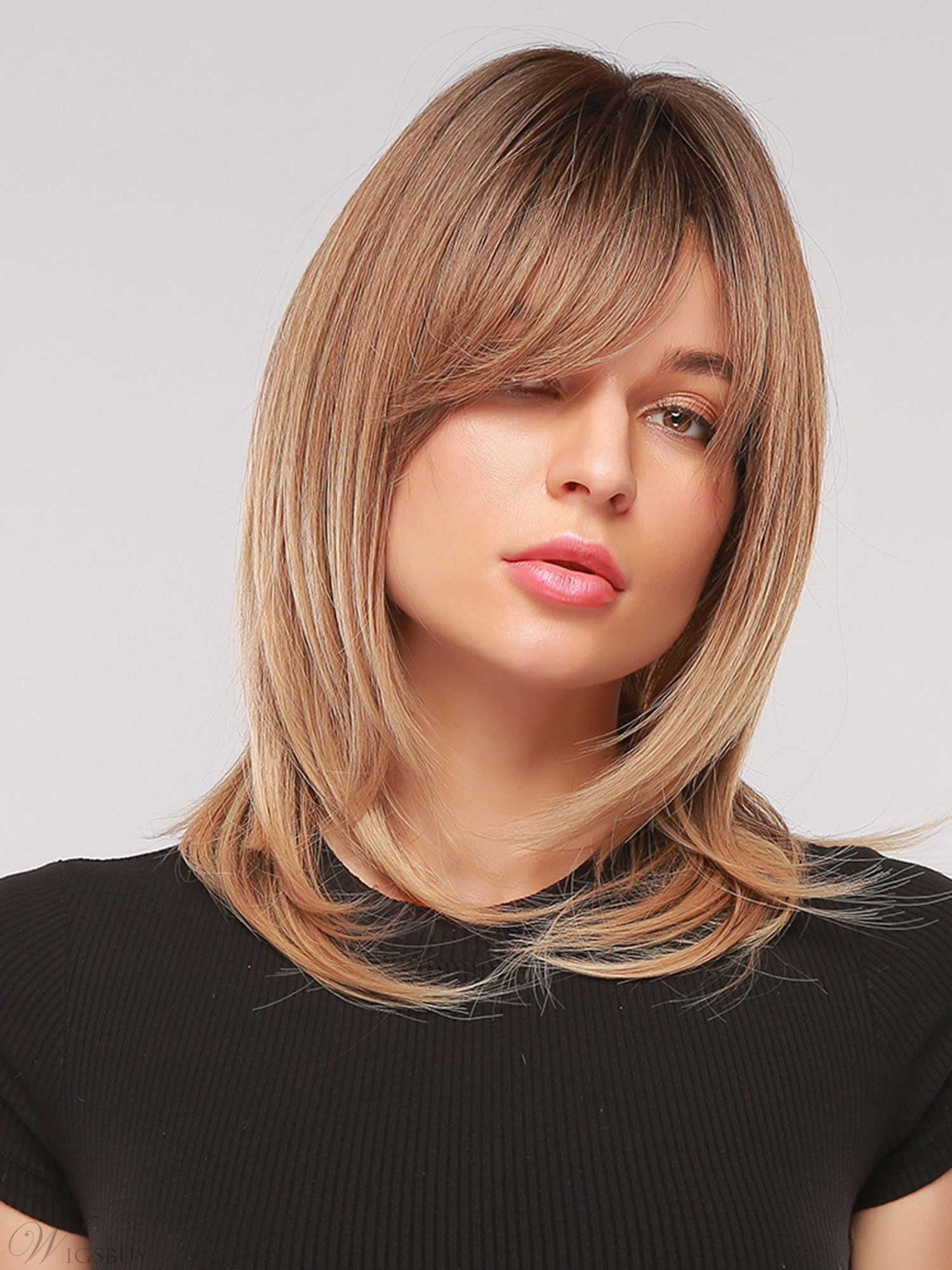 Medium Length Natural Straight Synthetic Hair Wig With Bangs 20 Inches