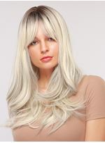 Gray Long Wavy Synthetic Hair Wig With Bangs 26 Inches