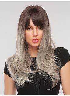 Grey Color Synthetic WavyHair With Bangs Capless Women Wig 26 Inches