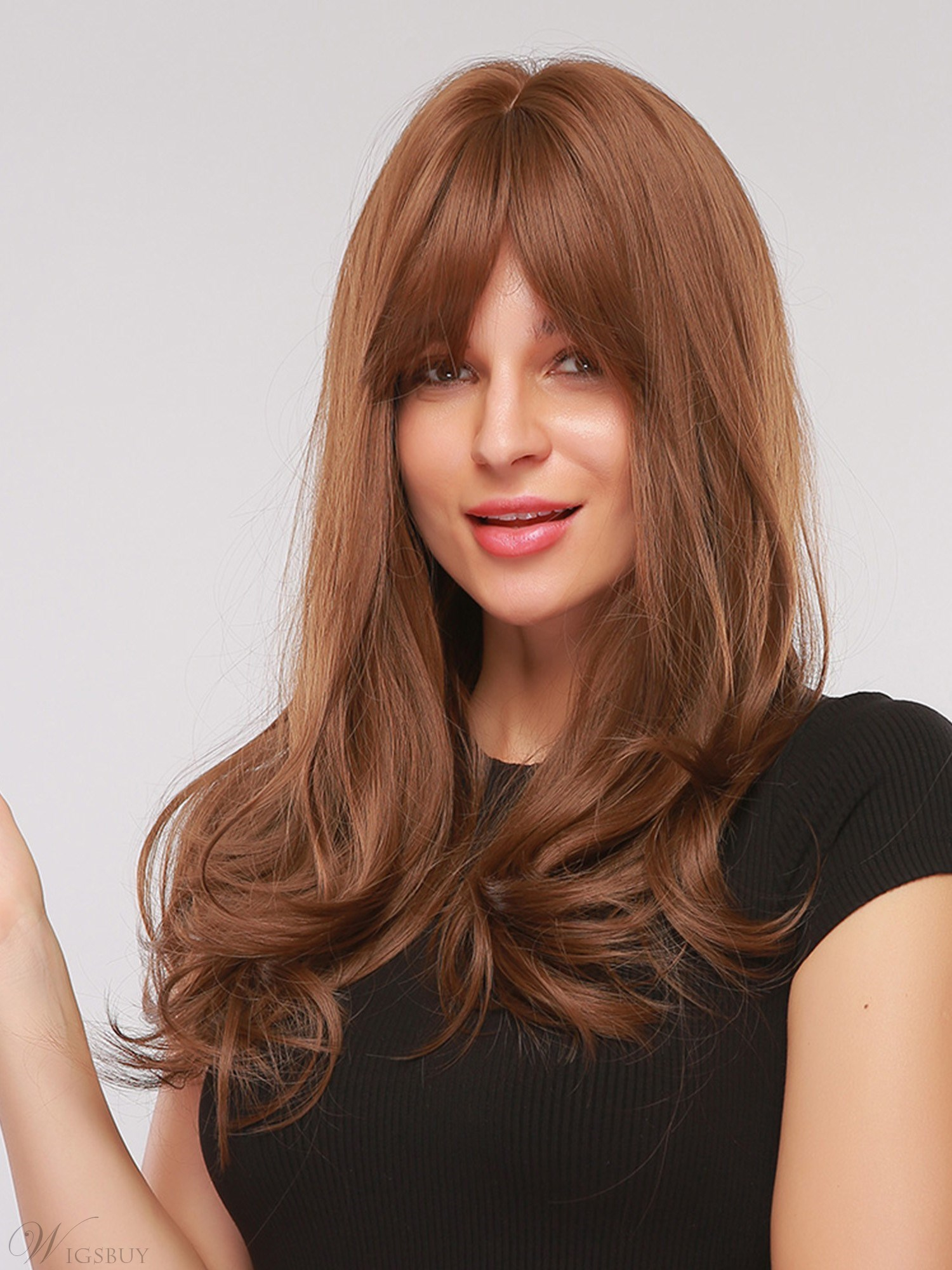 Middle Part Synthetic Wavy Hair With Bangs Capless Wig 26 Inches