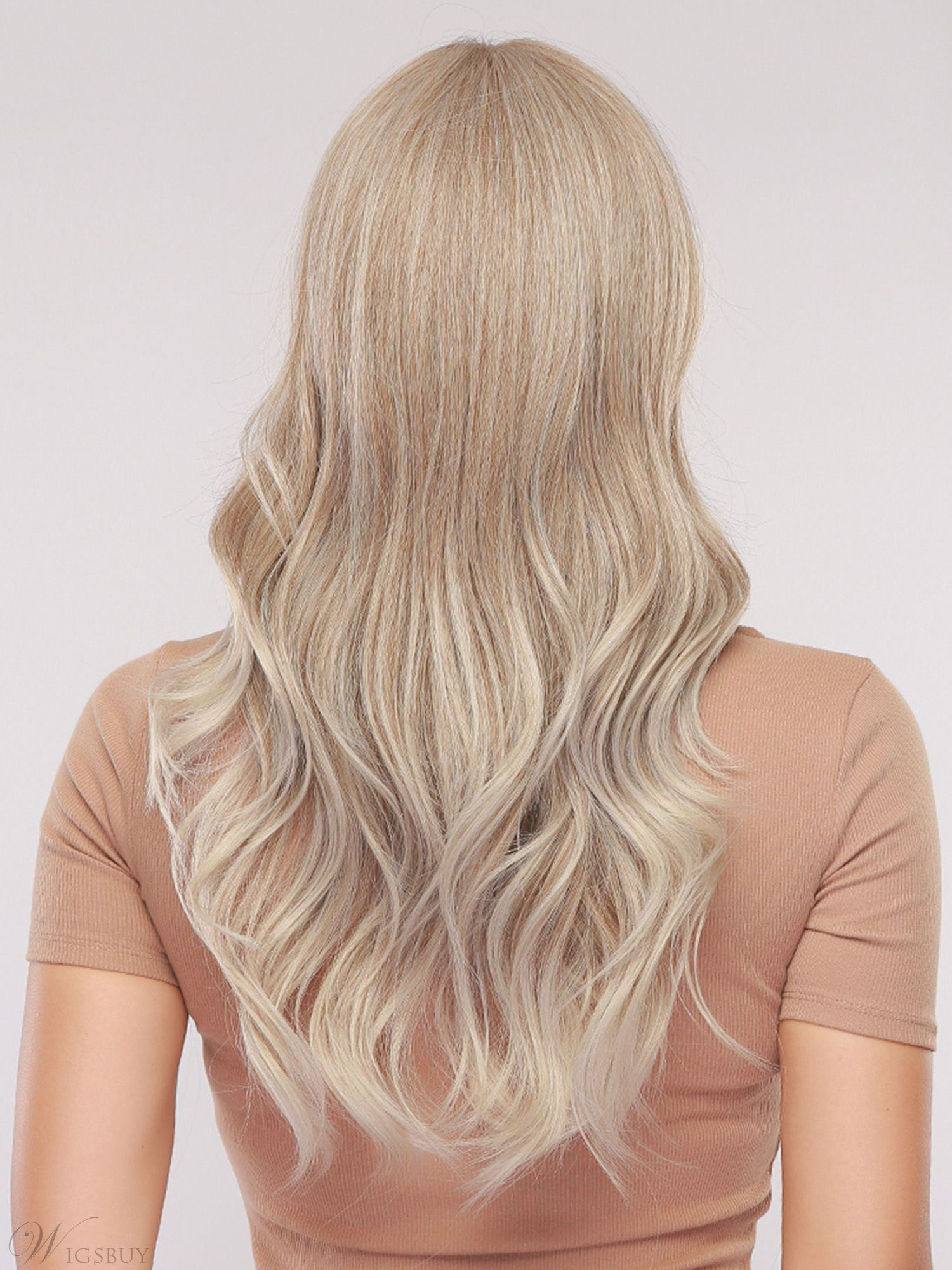 Silver Gray Long Wavy Synthetic Hair Wig With Bangs 24 Inches