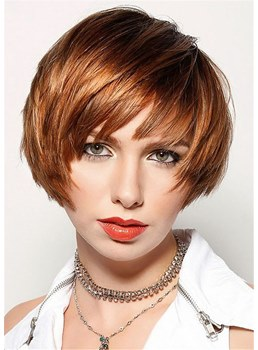 Short Layered Cut Human Hair Straight Capless Women Wig 10 Inches
