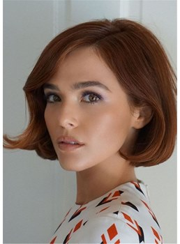 Women's Wavy Bob Human Hair Capless Wigs With Bangs 12Inch
