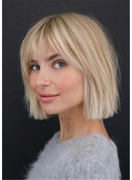 Short Bob Natural Straight Synthetic Hair With Bangs Capless Wigs 14Inches