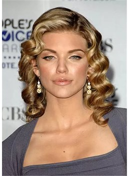 Retro Waves Hairstyle Human Hair Wigs With Pin-Up Bangs 16 Inches