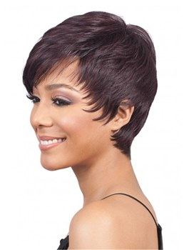 African American Short Pixie Human Hair Straight Wig For Women 8 Inches