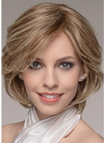 Natural Looking Women's Short Layered Wavy Hairstyle Human Hair Capless Wigs 12Inch