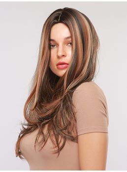 Mix Color Hairstyle Long Wavy Synthetic Hair Capless Women Wig 26 Inches