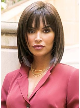 Medium Bob Hairstyles Women's Straight Human Hair Wigs Capless Wigs With Bangs 14Inch