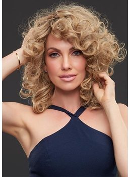 Medium Curly Hairstyle Women's Curly Human Hair Capless Wigs 18Inch