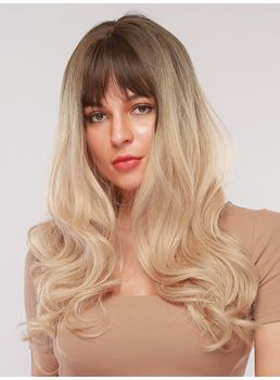 Women's Synthetic Hair Wavy Wig With Bang 28 Inches