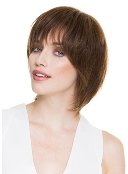 Women's Short Bob Hairstyle Slik Straight Human Hair Capless Wigs With Bangs 10Inch