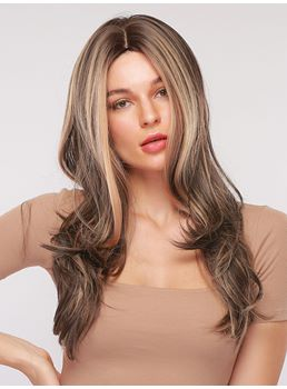 Mix Color Hairstyle Milddle Part Long Wavy Synthetic Hair Capless Wig 26 Inches