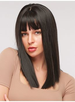 Long Straight Bob Synthetic Hair Wig With Bangs Capless Wig 16 Inches