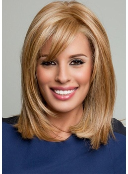 Women's Medium Bob Hairstyles Blonde Color Straight Human Hair Capless Wigs 14Inch