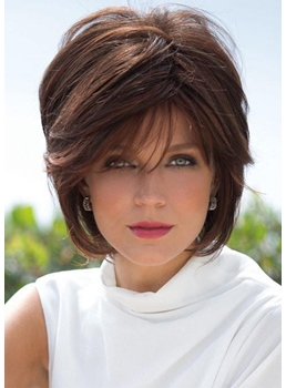 Women's Short Shaggy Hairstyles Straight Human Hair Wigs With Bangs Capless Wigs 10Inch