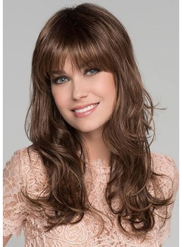 Women's Long Layered Wavy Human Hair Wigs With Bangs Capless Wigs 22Inch