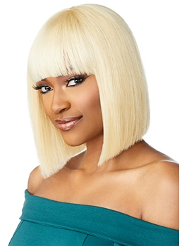 613 Blonde Color Short Bob Hairstyle Women's Straight Human Hair Capless Wigs With Bangs 10Inch