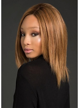 Women's Natural Straight Human Hair Middle Length Capless Wigs 14Inch