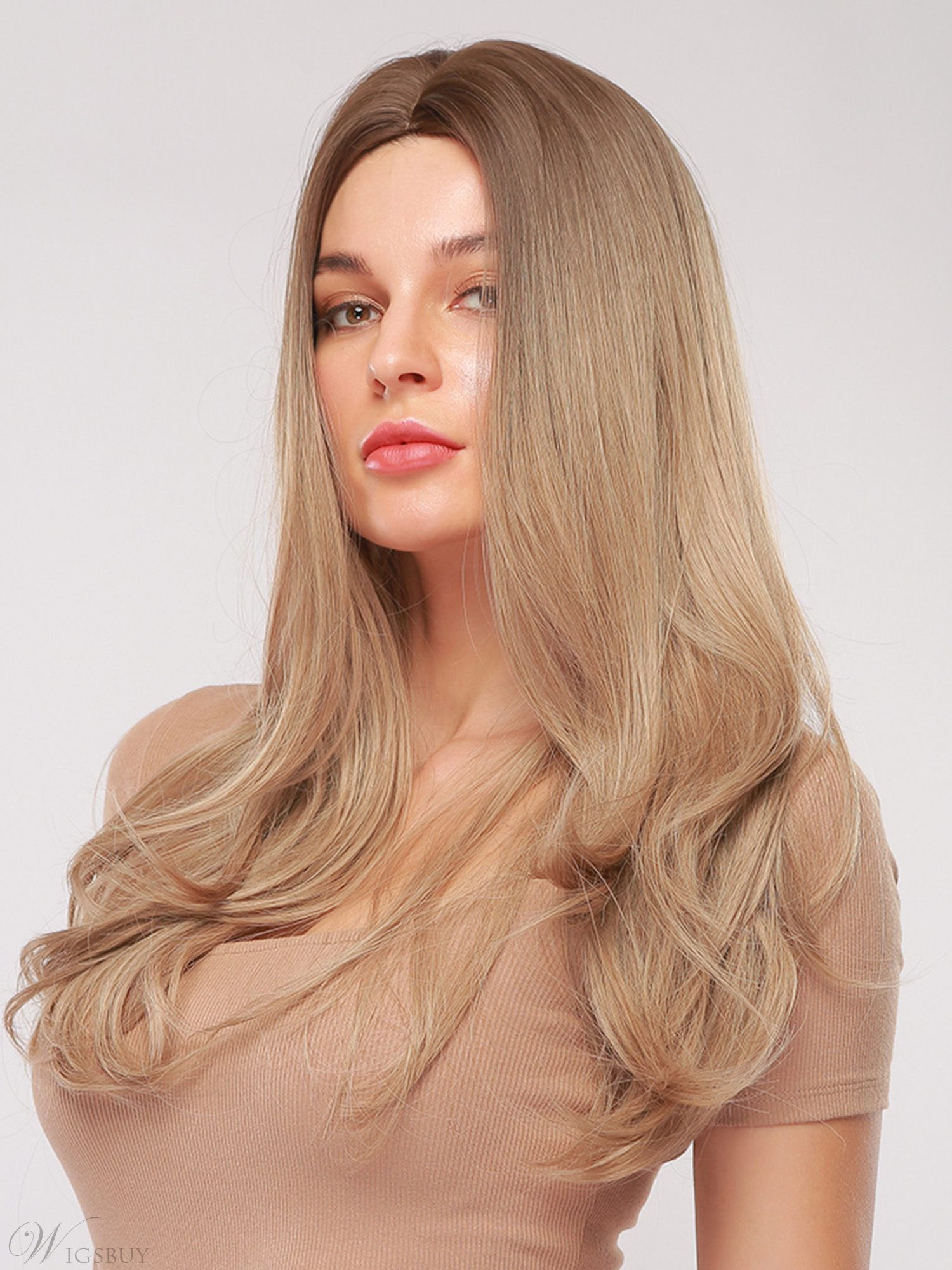 Middle Part Long Wavy Synthetic Hair With Bangs Women Wig 26 Inches