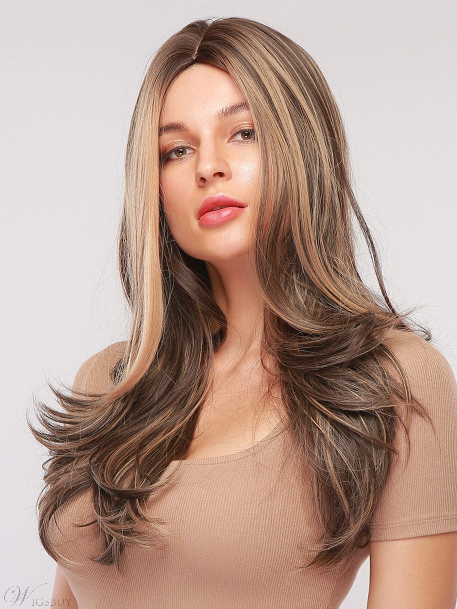 Balayage Hair Hairstyle Milddle Part Long Wavy Synthetic Hair Capless Wig 26 Inches