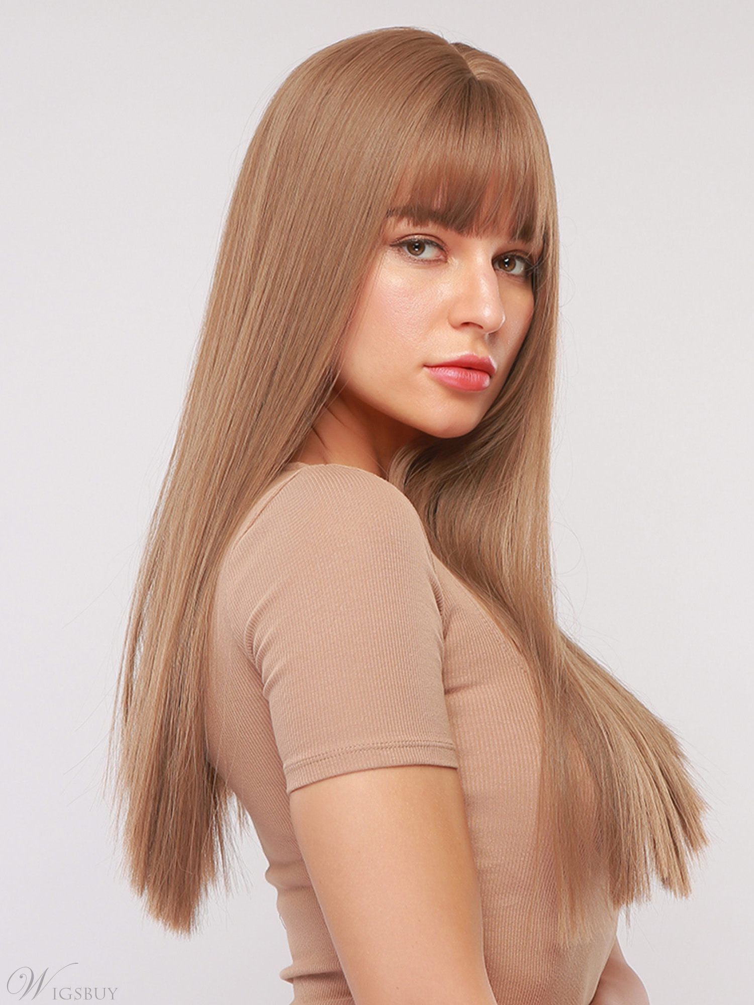 Women's Long Natural Straigt Synthetic Hair With Bangs Capless Wig 26 Inches