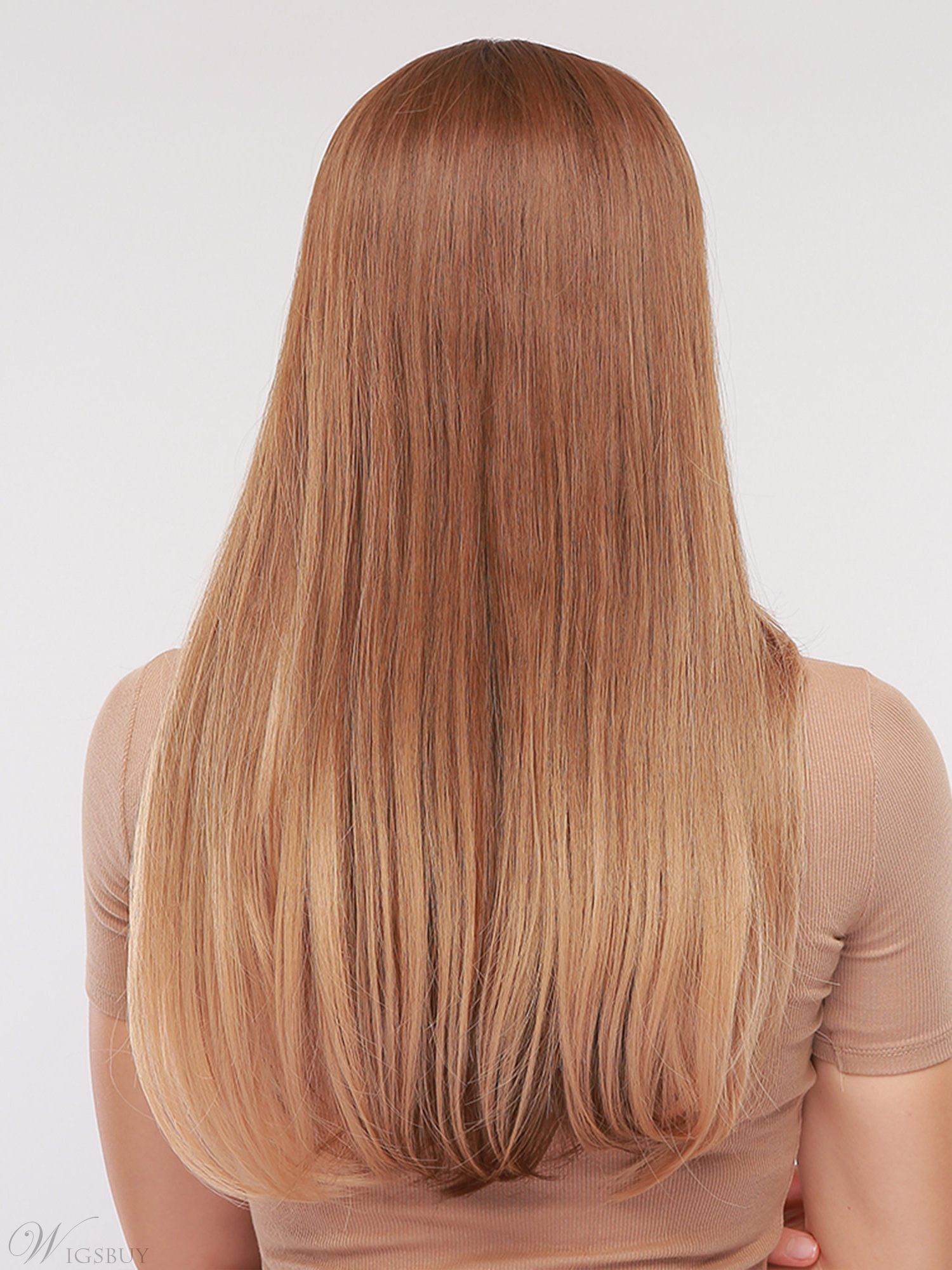 Middle Part Long Natural Straight Synthetic Hair Capless Women Wig 24 Inches