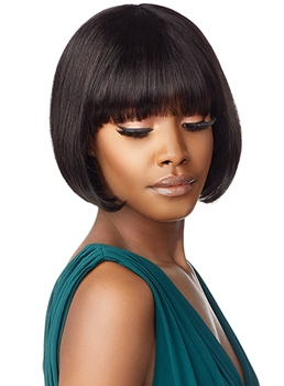 Short Bob Hairstyle Women's Straight Human Hair Capless Wigs With Bangs 10Inch