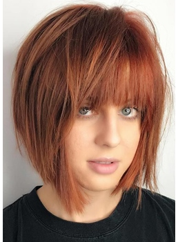 Women's Short Bob Hairstyles Natural Straight Synthetic Hair Capless Wigs With Bangs 14Inch