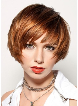 Women's Short Bob Straight Human Hair Capless Wigs With Bangs 10Inch