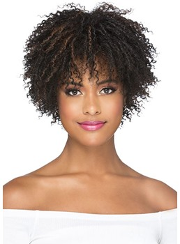 Short Afro Curly Hairstyle Women's Kinky Culry Synthetic Hair Capless Wigs 12inch