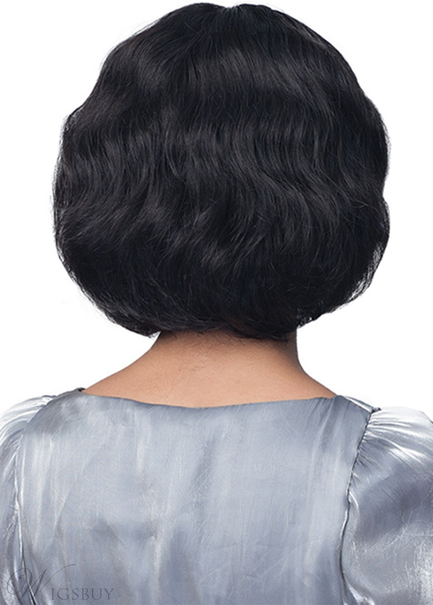Women's Short Bob Hairstyles Wavy Human Hair Wigs Middle Part Lace Front Cap Wigs 12Inch