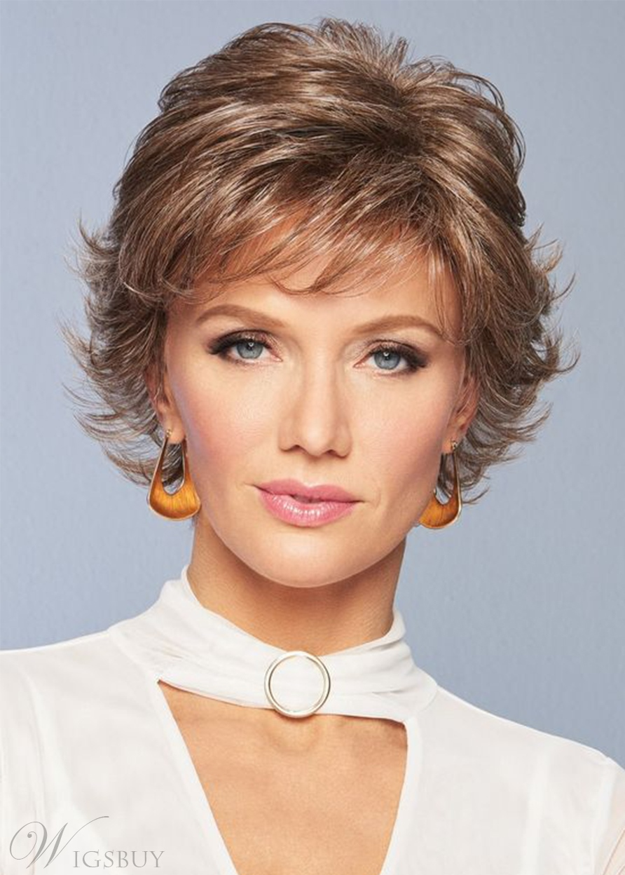 Women's Short Layered Hairstyles Wavy Shaggy Synthetic Hair Capless Wigs 12Inch
