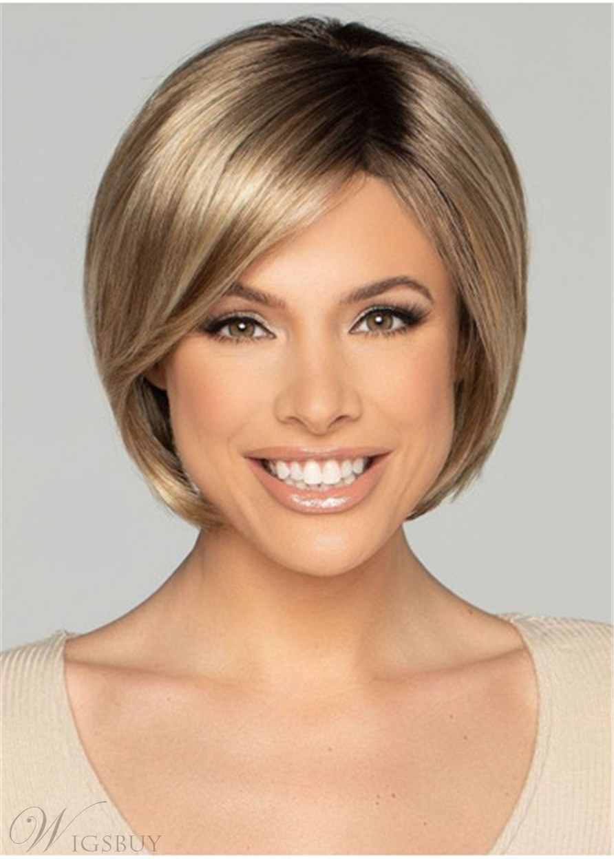 Women's Short Bob Hair Cut Natural Straight Synthetic Hair Wigs With Bangs 12Inch