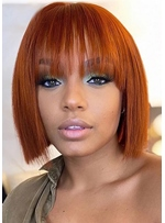 Short Bob Hairstyles Women's Straight Synthtic Hair Wigs With Bangs 12Inch