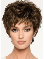 Women's Short Layered Wavy Hairstyles Synthetic Hair Wigs With Bangs Capless Wigs 6Inch