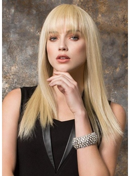 Natural Looking Blonde Color Women's Long Bob Hairstyles Human Hair Capless Wigs 24Inch