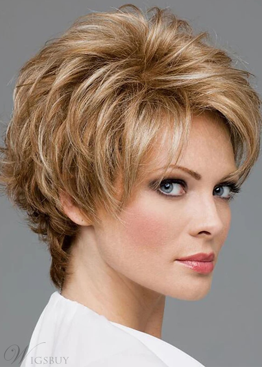 Women's Short Shaggy Hairstyles Straight Synthetic Hair Capless Wigs 8Inch