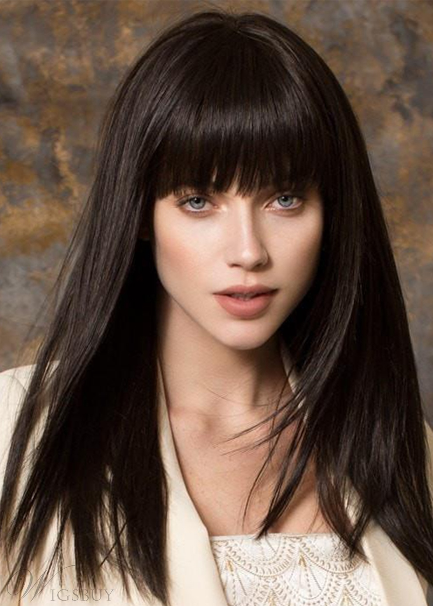 Natural Looking Women's Straight Human Hair With Bangs Capless Wigs 24Inch