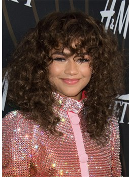 Zendaya's Hairstyle Long Afro Curly With Bangs Women's Kinky Culry Synthetic Hair Wigs 18 Inch