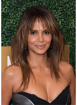 Halle Berry's Hairstyle Long Shaggy Layers Straight Human Hair Wigs With Wispy Curtain Bangs