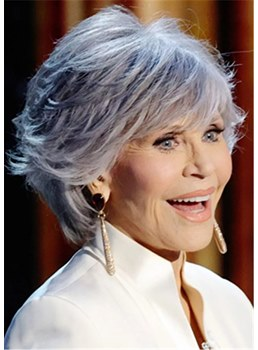 Jane Fonda Hairstyle Women's Wavy Gray Human Hair With Bangs Capless Wigs 14Inch