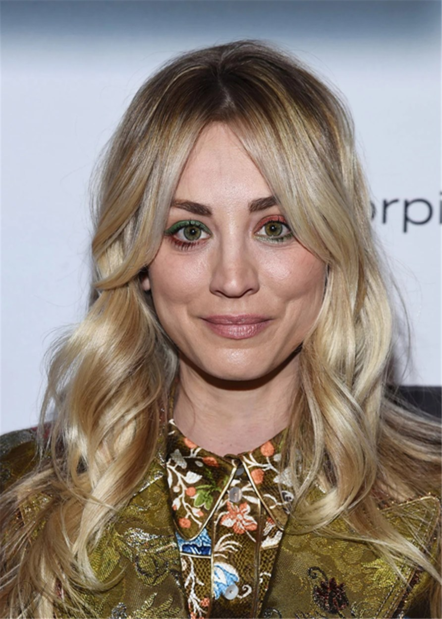 Kaley Cuoco's Hairstyle Long Length Wavy Synthetic Hair With Feathered Curtain Bangs 24Inches