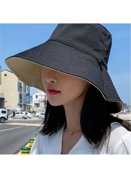 Women's Reversible Plain Pattern Linen Wide Brim Dome Crown Bucket Hat