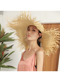Women's Tassel Plain Casual Style Wide Brim Straw Plaited Article Dome Crown Straw Hat