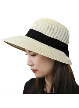 Spring/Summer/Fall Style Plain Pattern Straw Plaited Article Dome Crown Hats